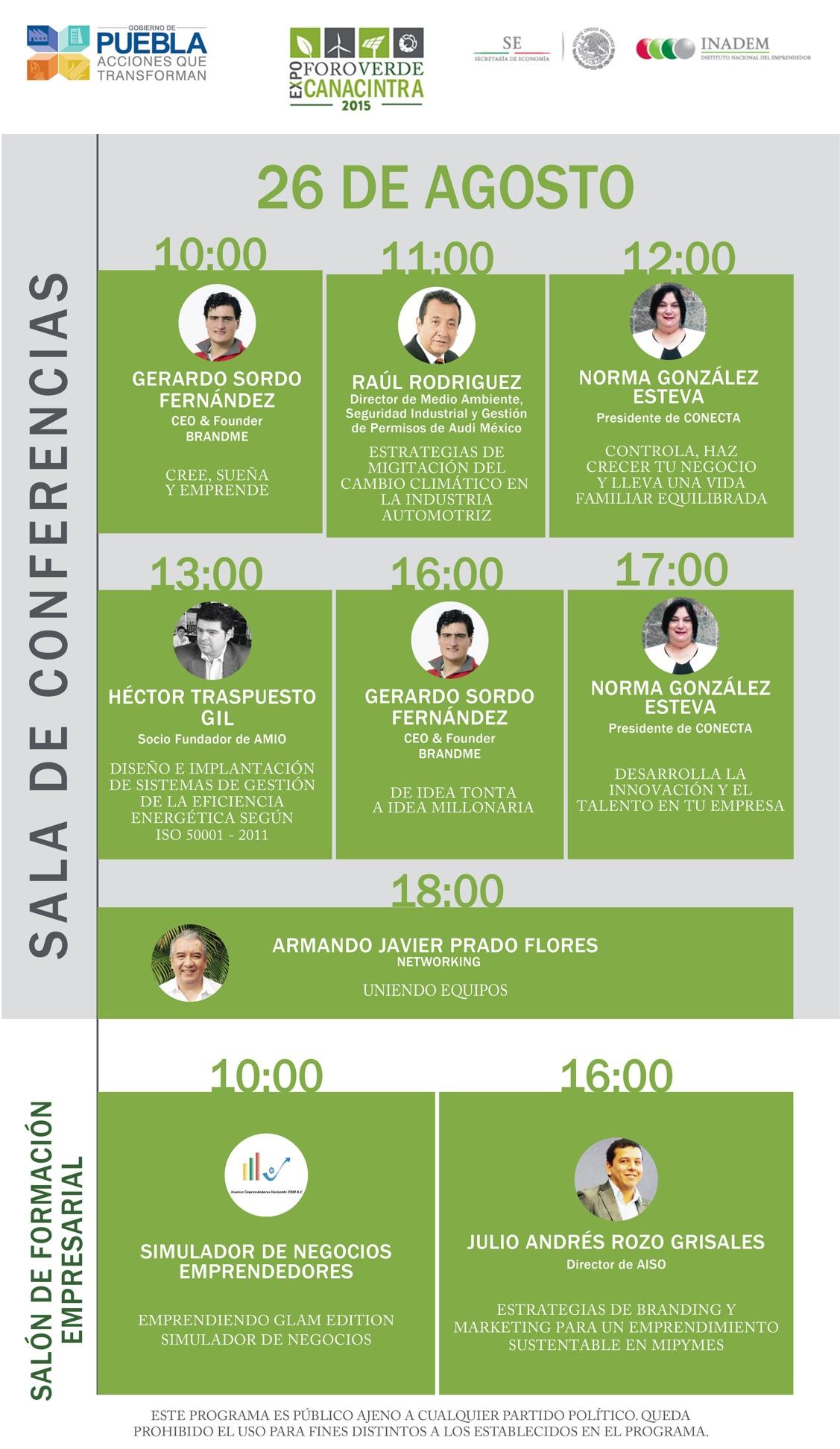 Programa día 26 de agosto, expo foro verde puebla 2015, amio, mexico, hector traspuesto